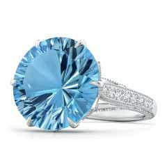 GIA Certified Round Sky Blue Topaz Ring with Diamond Accents - 15.7 CT TW