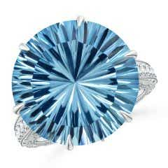 Toggle GIA Certified Round Sky Blue Topaz Ring with Diamond Accents - 15.7 CT TW