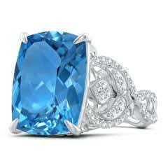 GIA Certified Cushion Swiss Blue Topaz Twisted Shank Ring - 12.8 CT TW