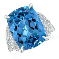 Toggle GIA Certified Cushion Swiss Blue Topaz Twisted Shank Ring - 12.8 CT TW