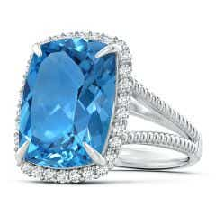GIA Certified Cushion Swiss Blue Topaz Split Shank Halo Ring - 12.4 CT TW