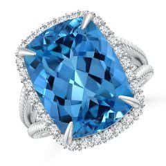 Toggle GIA Certified Cushion Swiss Blue Topaz Split Shank Halo Ring - 12.4 CT TW