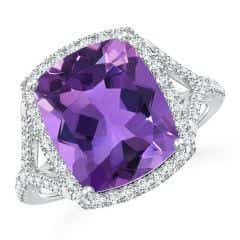 Rectangular Cushion Amethyst Split Shank Ring