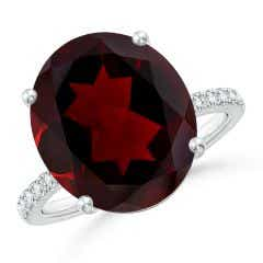 Toggle GIA Certified Oval Garnet Ring with Diamond Accents - 8.6 CT TW