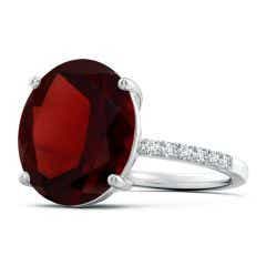 GIA Certified Oval Garnet Ring with Diamond Accents - 8.6 CT TW