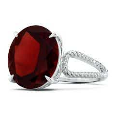 Toggle GIA Certified Oval Garnet Twist Rope Split Shank Ring - 8.4 CT TW
