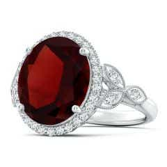 Vintage Inspired GIA Certified Oval Garnet Halo Ring - 8.8 CT TW