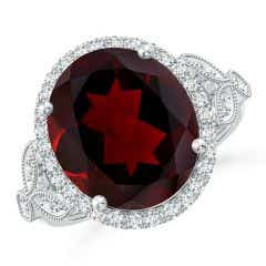 Toggle Vintage Inspired GIA Certified Oval Garnet Halo Ring - 8.8 CT TW
