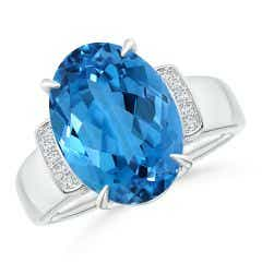GIA Certified Oval Swiss Blue Topaz Ring with Diamond Accents
