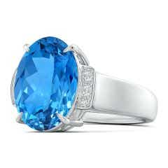 Toggle GIA Certified Oval Swiss Blue Topaz Ring with Diamond Accents - 8 CT TW