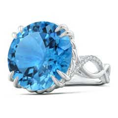 GIA Certified Swiss Blue Topaz Crossover Cocktail Ring