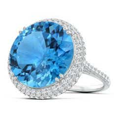 GIA Certified Round Swiss Blue Topaz Double Halo Ring - 20.3 CT TW