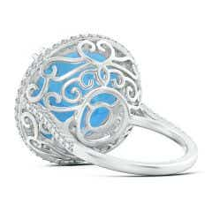 Toggle GIA Certified Round Swiss Blue Topaz Double Halo Ring - 20.3 CT TW
