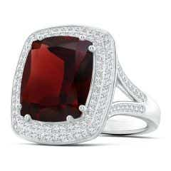 GIA Certified Garnet Cocktail Ring with Diamond Double Halo - 9.5 CT TW