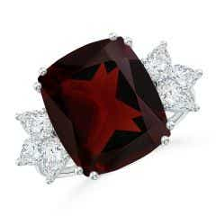 GIA Certified Garnet Cocktail Ring with Pear Diamonds