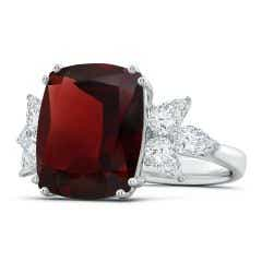 Toggle GIA Certified Garnet Cocktail Ring with Pear Diamonds - 10.1 CT TW