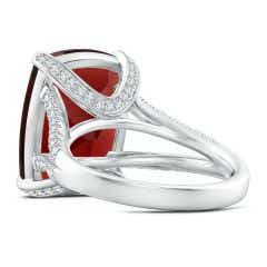 Toggle GIA Certified Cushion Garnet Split Shank Ring with Diamonds - 12.3 CT TW