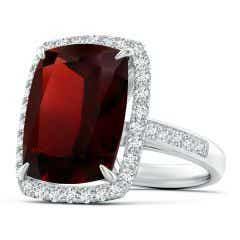 GIA Certified Garnet Two Tone Cocktail Ring with Halo - 12.4 CT TW