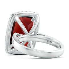 Toggle GIA Certified Garnet Two Tone Cocktail Ring with Halo - 12.4 CT TW