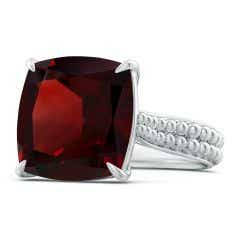 Toggle Solitaire GIA Certified Cushion Garnet Beaded Shank Ring