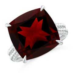 Solitaire GIA Certified Cushion Garnet Beaded Shank Ring - 12.4 CT TW