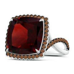 GIA Certified Cushion Garnet Ring with Coffee Diamond Halo - 13.1 CT TW
