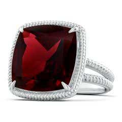 Classic GIA Certified Cushion Garnet Twist Cocktail Ring