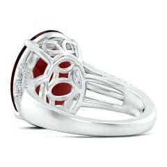 Toggle GIA Certified Oval Garnet Triple Shank Ring with Diamonds - 8.6 CT TW