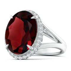 GIA Certified Oval Garnet Split Shank Ring with Scrollwork