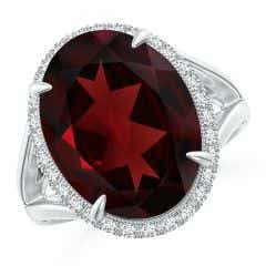 Toggle GIA Certified Oval Garnet Split Shank Ring with Scrollwork