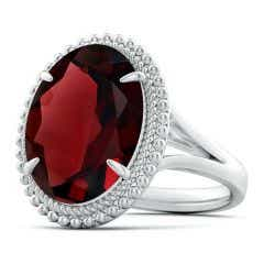 GIA Certified Oval Garnet Cocktail Ring with Beaded Halo - 8.3 CT TW