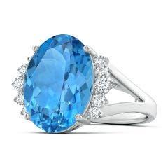 GIA Certified Swiss Blue Topaz Ring with Side Diamonds