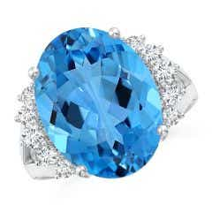 Toggle GIA Certified Swiss Blue Topaz Ring with Side Diamonds