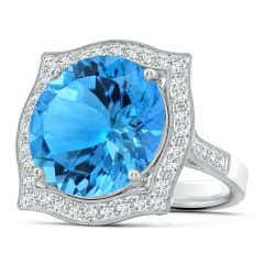 GIA Certified Round Swiss Blue Topaz Ring with Ornate Halo
