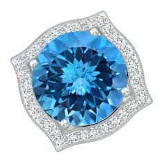 Toggle GIA Certified Round Swiss Blue Topaz Ring with Ornate Halo