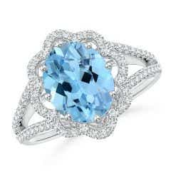 GIA Certified Oval Aquamarine Floral Halo Split Shank Ring - 2.8 CT TW