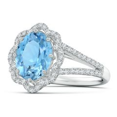 Toggle GIA Certified Oval Aquamarine Floral Halo Split Shank Ring - 2.8 CT TW