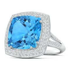 GIA Certified Cushion Swiss Blue Topaz Ring with Diamond Halo - 13.7 CT TW