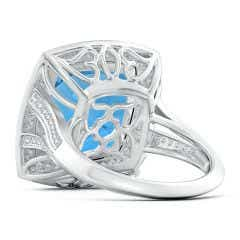 Toggle GIA Certified Cushion Swiss Blue Topaz Ring with Diamond Halo - 13.7 CT TW