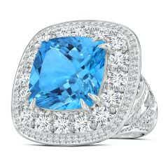 GIA Certified Swiss Blue Topaz Double Halo Criss Cross Ring - 16.7 CT TW