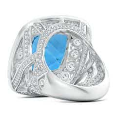 Toggle GIA Certified Swiss Blue Topaz Double Halo Criss Cross Ring - 16.7 CT TW