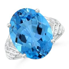 GIA Certified Swiss Blue Topaz Ring with Diamond Leaf Motifs - 11.5 CT TW
