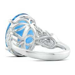 Toggle GIA Certified Swiss Blue Topaz Ring with Diamond Leaf Motifs - 11.5 CT TW