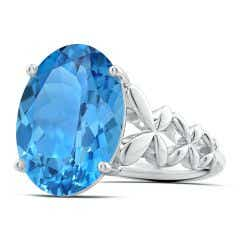 GIA Certified Oval Swiss Blue Topaz Butterfly Cocktail Ring - 11.3 CT TW