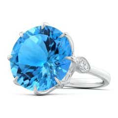 Claw-Set GIA Certified Round Swiss Blue Topaz Solitaire Ring - 16.2 CT TW