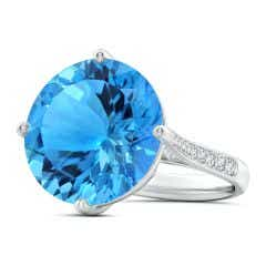 GIA Certified Round Swiss Blue Topaz Solitaire Ring - 16.2 CT TW