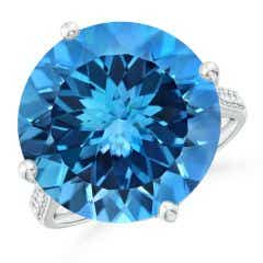 Toggle GIA Certified Round Swiss Blue Topaz Solitaire Ring - 16.2 CT TW