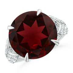 GIA Certified Round Garnet Ring with Diamond Leaf Motifs - 10.9 CT TW