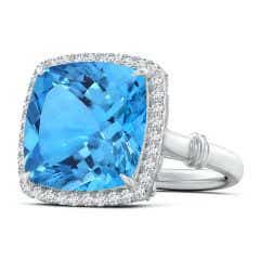 GIA Certified Swiss Blue Topaz Halo Ring with Leaf Motifs - 13.2 CT TW
