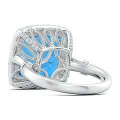 Toggle GIA Certified Swiss Blue Topaz Halo Ring with Leaf Motifs - 13.2 CT TW